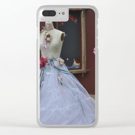 Old wedding dress on display Clear iPhone Case
