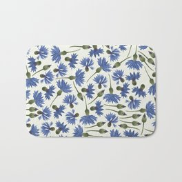Vintage Pressed Flowers - Blue Cornflower Bath Mat
