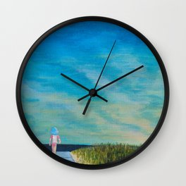 Walking to the Beach Wall Clock
