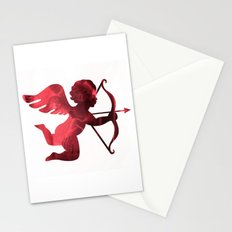 Cupid With Arrow, Eros and Psyche, Cupid Valentine Print, Valentine's Day Red Cupid Home Decor Stationery Cards
