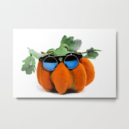 Pumpkin handmade from felted wool in glasses for celebration of Halloween Metal Print