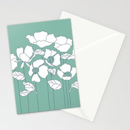 Sage Green White Poppies Stationery Cards