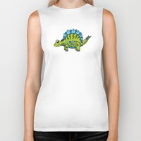 dinosaur Biker Tanks featuring Dinosaur by Peggy Cline