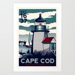 CAPE COD  Massachusetts Light House Retro Vintage nautical cape cod Art Print