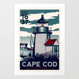 CAPE COD  Massachusetts Light House Retro Vintage nautical cape cod Art Print