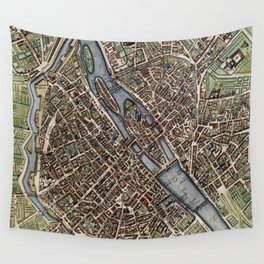Vintage Map of Paris (1657) Wall Tapestry