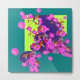 Pink Morning Glories on TEAL Art  LIME Design Metal Print