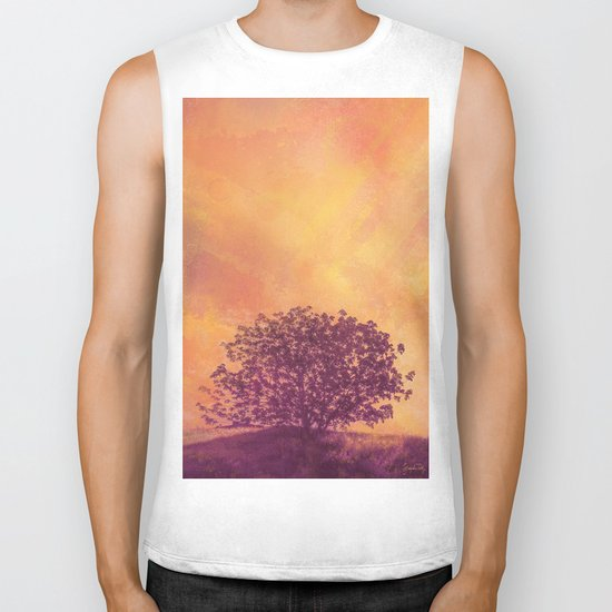 Red Violet Lone Tree and Fall Sunlight Biker Tank