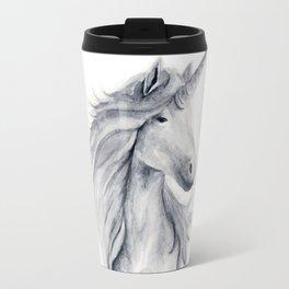 Grey unicorn Travel Mug