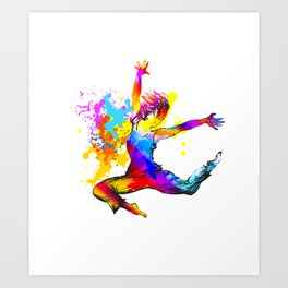 Hip hop dancer jumping Art Print