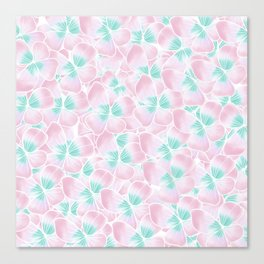 Blush pink turquoise white hand drawn watercolor flowers Canvas Print