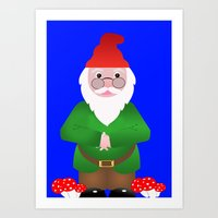 gnome Art Prints featuring Gnome by lescapricesdefilles