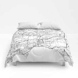 Naples Map, Italy - Black and White Comforters