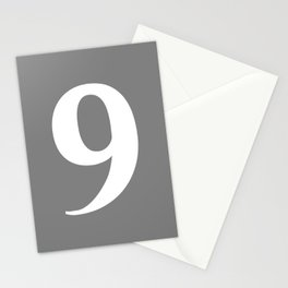9 (WHITE & GRAY NUMBERS) Stationery Cards