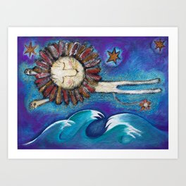 Dreaming lion Art Print