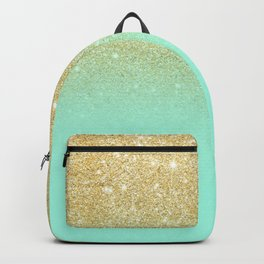 Modern gold ombre mint green block Backpack