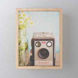 A vintage Kodak camera & a jar full of daisies. Framed Mini Art Print