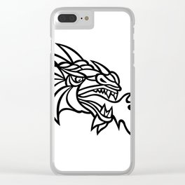Mythical Dragon Breathing Fire Mascot Clear iPhone Case