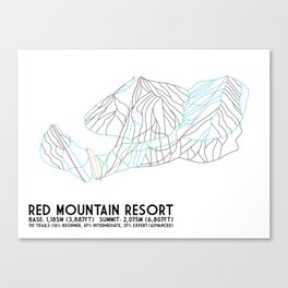 Red Mountain Resort, BC, Canada - Minimalist Trail Art Canvas Print