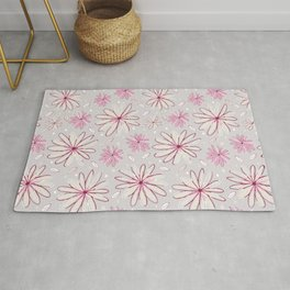 Pink and Grey Whimsical Flower Garden Drawings Rug