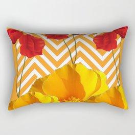 YELLOW & RED  POPPIES MODERN GOLDEN PATTERNS Rectangular Pillow