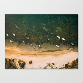 Aerial view of a Lagoon with boats Canvas Print