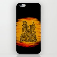 Zombie with Dragon on the Cemetery black and yellow iPhone & iPod Skin