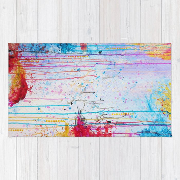 Purple Canvas Rug: HAPPY TEARS Bright Cheerful Abstract Acrylic Painting