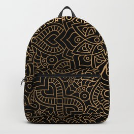 Black Gold Mandala Backpack