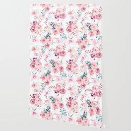 Pink Watercolor Florals I Wallpaper