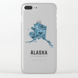 Alaska - State Map Art - Abstract Map - Blue Clear iPhone Case