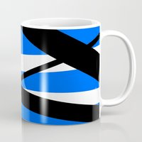 bands Mugs featuring Bands 1 Retro stripes by Brian Raggatt