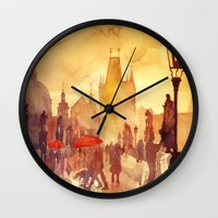 takmaj Wall Clocks featuring Charles Bridge by takmaj