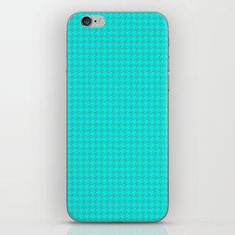Turquoise Sea Green Houndstooth Pattern iPhone Skin