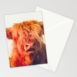 Highland cow watercolor painting #2 Stationery Cards
