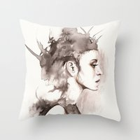 hydra Throw Pillows featuring Hydra by BookOfFaces
