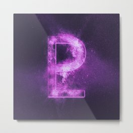 Planet Pluto Symbol. Pluto sign. Abstract night sky background. Metal Print