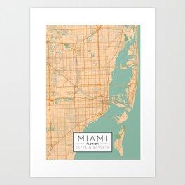 Miami Map - Color Art Print