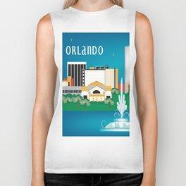 Orlando, Florida - Skyline Illustration by Loose Petals Biker Tank