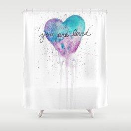 Watercolor Love Heart Shower Curtain