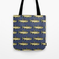 trout Tote Bags featuring Brown Trout by Trinity Mitchell