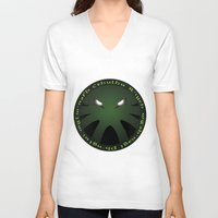 cthulu V-neck T-shirts featuring Cthulu Roundel by Hans Mills