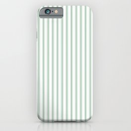 Mattress Ticking Narrow Striped Pattern in Moss Green and White iPhone Case
