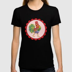 Happy Rainbow Rooster Womens Fitted Tee X-LARGE Black