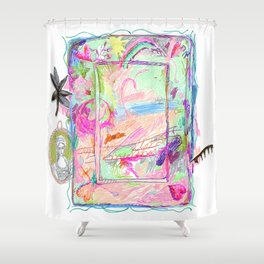 Colorful Scribble Beach Drawing Shower Curtain