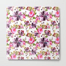 Watercolor flora pink bouquet Metal Print