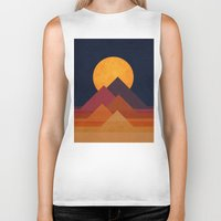 retro Biker Tanks featuring Full moon and pyramid by Picomodi