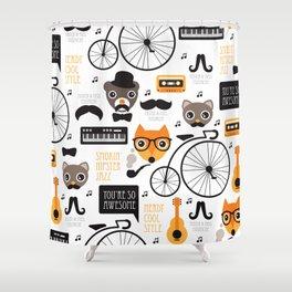 Hipster mustache animal jazz illustration design Shower Curtain