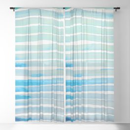 New Year Blue Water Lines Sheer Curtain