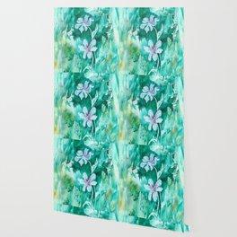 Green encaustic flowers Wallpaper